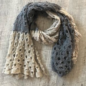 Accessories - Tan Grey Neutral Airy Scarf Wrap